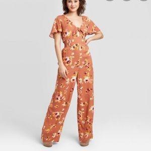 Floral Print Tie Front Short Sleeve Jumpsuit